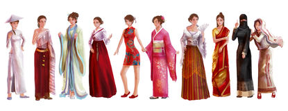 High detail watercolor style cartoon illustration of Asian female Stock Image