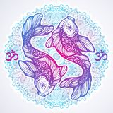 High-detailed beautiful illustration of Koi carp fish on Mandala round pattern.Hand-drawn vector line art isolated. Tattoo art. vector illustration