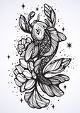 High-detailed beautiful illustration of Koi carp fish, symbol of happiness and abundance. Hand-drawn vector artwork isolated. Tattoo art. Asia, boho style vector illustration