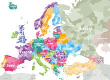 High detailed colored political map of Europe with countries` regions. Vector. High detailed colored political map of Europe with countries` regions Stock Photography