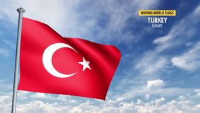 3D flag animation of Turkey. High detailed 3D flag animation in front of a moving blue and cloudy sky stock footage