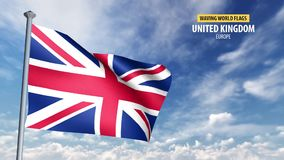 3D flag animation of the United Kingdom. High detailed 3D flag animation in front of a moving blue and cloudy sky stock video
