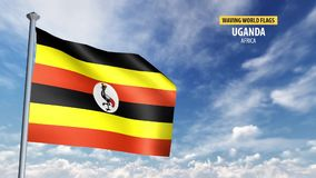 3D flag animation of Uganda. High detailed 3D flag animation in front of a moving blue and cloudy sky stock footage