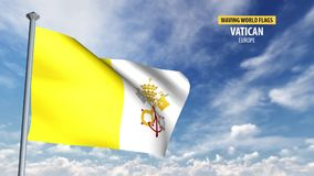 3D flag animation of Vatican. High detailed 3D flag animation in front of a moving blue and cloudy sky stock video footage