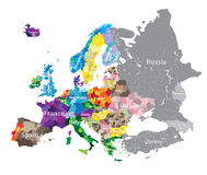 High detailed Europe countries regions map Royalty Free Stock Image