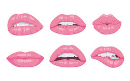 High detailed glossy lips and mouth vector illustration. Open, close up. Royalty Free Stock Photography