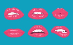 High detailed glossy lips and mouth vector illustration. Open, close up on the bright background. Royalty Free Stock Photos