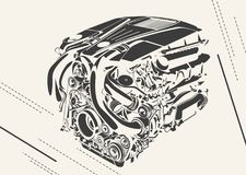 Vector high detailed illustration of abstract engine Stock Images