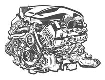 Vector high detailed illustration of abstract engine Stock Photography