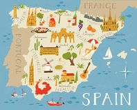 High detailed map of Spain. Food, architecture and symbols of Spanish culture stock illustration