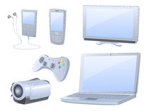 High detailed media devices set. High detailed set of six items - media devices, contains media player, cell phone, TV set, console joystick, notebook and Stock Photos