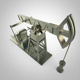 High detailed metal pump-jack, oil rig. isolated  rendering.  fuel industry, economy crisis illustration. Royalty Free Stock Photo