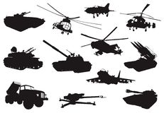Military set. High detailed military silhouettes set. Vector Stock Photo