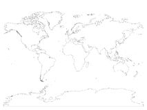 High detailed outline of world map with Antarctica. Simple thin black vector stroke on white background.  royalty free illustration