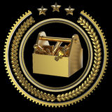 High detailed precious metal toolbox tools in laurel wreath badge with rings and stars. Stock Images