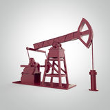 High detailed red metallic pump-jack, oil rig. isolated  rendering.  fuel industry, economy crisis illustration. Royalty Free Stock Photos