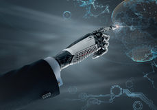 High detailed robotic hand in business suit pointing with index finger Stock Photo
