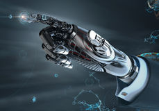High detailed robotic hand in business suit pointing with index finger Royalty Free Stock Images