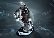 High detailed robotic hand in business suit pointing with index finger Royalty Free Stock Photos