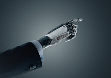High detailed robotic hand in business suit pointing with index finger Stock Image