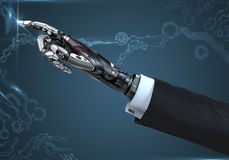 High detailed robotic hand in business suit touching virtual point with index finge Stock Photo