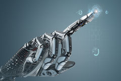 High detailed robotic hand in business suit touching virtual point with index finger Royalty Free Stock Image