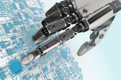 High detailed robotic hand touching digital circuit board with index finge Royalty Free Stock Photography