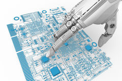 High detailed robotic hand touching digital circuit board with index finge Royalty Free Stock Photo