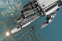 High detailed robotic hand touching digital circuit board with index finge Stock Photography