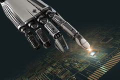 High detailed robotic hand touching digital circuit board with index finge Royalty Free Stock Images