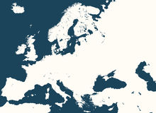 High detailed silhouette of Europe map Royalty Free Stock Images