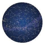 High detailed sky map of Southern hemisphere with names of stars Royalty Free Stock Photo
