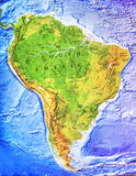 High detailed South America physical map with labeling Royalty Free Stock Images