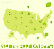 High detailed United States map ecology eco icons Royalty Free Stock Image