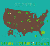 High detailed United States map ecology eco icons Royalty Free Stock Photography