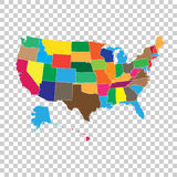 High detailed USA map with federal states. Vector illustration U Stock Photography