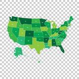 High detailed USA map with federal states. Vector illustration U Stock Images