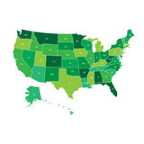 High detailed USA map with federal states. Vector illustration United states of America in green color Stock Photo