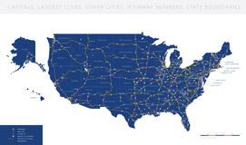 High detailed USA road map vector Royalty Free Stock Photography