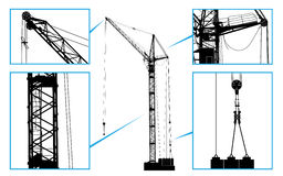 High detailed vector hoisting crane Royalty Free Stock Photos