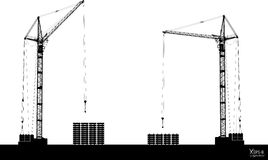 High detailed vector hoisting cranes isolated on white. Vector illustration Royalty Free Stock Photography