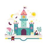 High detailed vector illustration of magic kingdom. Royalty Free Stock Image