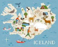 High detailed vector map of Iceland with animals and landscapes.