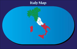 High detailed vector map - Italy in colours of the national flag stock illustration