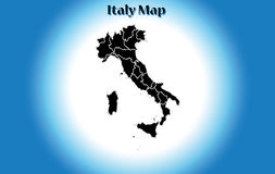High detailed vector map - Italy, political region, black design, flat, white vignette, isolated silhouette, boot shape, Stock Photo