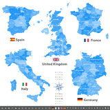 High detailed vector maps of United Kingdom, Italy, Germany, France and Spain with administrative divisions.  Stock Photo