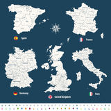 High detailed vector maps of United Kingdom, Italy, Germany, France and Spain with administrative divisions. Royalty Free Stock Image