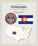 High detailed vector set with flag, coat of arms Colorado. American poster. Greeting card. High detailed vector set with flag, coat of arms, map of Colorado Royalty Free Stock Photography