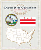 High detailed vector set with flag, coat of arms District of Columbia. American poster. Greeting card. High detailed vector set with flag, coat of arms, map of stock illustration