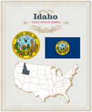 High detailed vector set with flag, coat of arms Idaho. American poster. Greeting card. High detailed vector set with flag, coat of arms, map of Idaho. American royalty free illustration